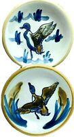 "Louisville Kentucky Stoneware Ducks and Cattails 4-7/8"" Plates Set of 2 Vintage"