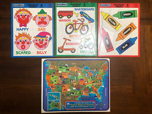4 Vintage Puzzles Lot United States USA Map Frame Tray GOLDEN Puzzle Patch Kids