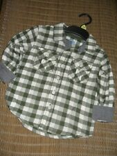 Ex store 12-18 months boys 100% brushed cotton khaki checked shirt Brand New
