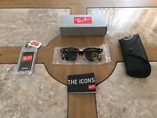 Authentic Ray Ban RB3016 Clubmaster W0366 Tortoise Frame/ Green Lens NEW