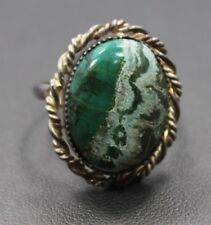 Adjustable Sterling Silver Green White Oval Agate Stone Ring