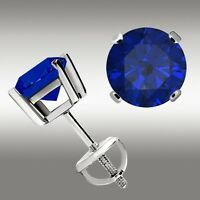 14K White Gold 1 Ct Blue Sapphire Stud Earrings RoundScrewBack Great Deal