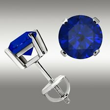 1.00 Ct Tanzanite Stud Earrings 14k White Gold Screw Back 5mm Great Holiday Gift