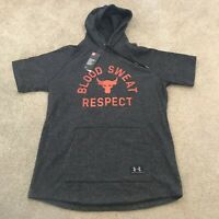 Under Armour Project Rock Blood Sweat Respect Size XL Grey Hoodie Black