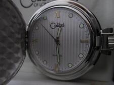 COLIBRI Silver Tone Stripe Platinum & Gold FACE POCKET WATCH & Engravable Shield