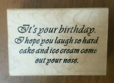 American Art ...laugh so hard cake & ice cream come out.... Funny Rubber Stamp