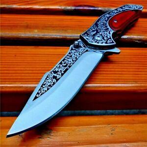 "Drop Point Folding Knife Pocket Flipper Hunting Survival Tactical Wood Handle 3"""