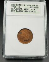1905 Indian Cent Penny Error Variety ANACS Unc Details ED Coin RPD 001 S-5