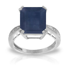 7.27 ct Platinum Plated 925 Sterling Silver Ring Natural Diamond Sapphire