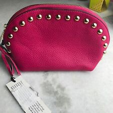 NEW REBECCA MINKOFF Hot Pink Gold Studded Domed Leather Cosmetic Bag Pouch $95