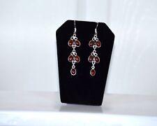 Metal Garnet Stone Dangle Hook Earrings Fashion Jewelry Silver Tone
