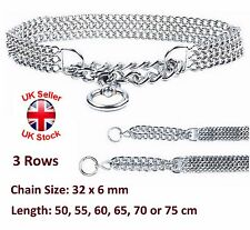 Semi Choke Chain Collar Metal Chrome Training 3 Rows 32 x 6 mm Chain 6 Sizes