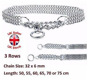 Semi Choke Chain Collar Metal Chrome Training 3 Rows 32 x 6 mm Chain 6 Sizes