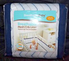 BreathableBaby Chevron Navy Liner breathable mesh crib liner 0-12 mo 14213 NIP