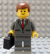 LEGO Minifig Businessman Manager Boss Lawyer Attorney Red Tie Brown Hair