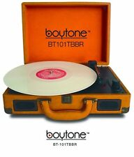 Boytone Mobile Suitcase Multi RPM Turntable BT-101TBBR Record Player Brown AC-DC