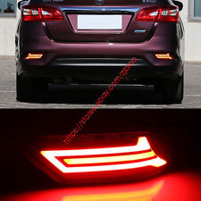 LED Rear Bumper Brake Lights Turn Signal Light DRL For Nissan Sentra 2016-2018