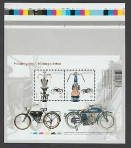 MOTORCYCLES =1914 INDIAN & 1908 CCM = S/S pos.3 fr UnCut sheet Canada2013 #2646i