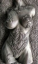 Girl Dragon Tattoo Pewter Nude Erotic Female Torso Sculpture Wall Hanging Front