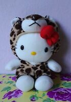 Vintage Sanrio Hello Kitty Dress as Leopard Cheetah Plush Cat Doll Soft Toy