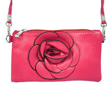 Portable Zipper Clutch Handbag Mini Wallet Coins Purse Pouch: Pink Rose PB101