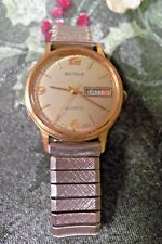 MEN'S VINTAGE BENRUS SWISS DAY/DATE INDICATOR QUARTZ TWO TONE GOLD FACE WATCH