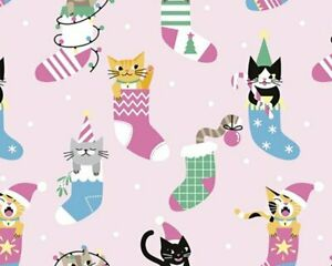 100% Cotton Fabric Little Johnny Christmas Cats in stockings pink digital print