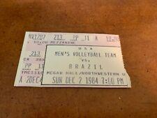 1984 USA v Brazil Men's Volleyball Ticket 12/2 McGaw Hall Northwestern