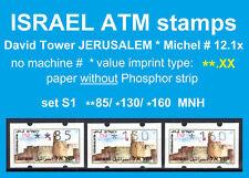 Israel ATM JERUSALEM * no PH * set **85/130/160 MNH * Klussendorf FRAMA CVP