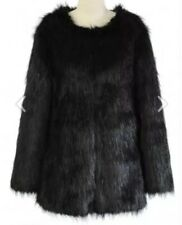 Fabulous Quality Black Shaggy Faux Fur Coat / Jacket From Matalan - Size 16 BNWT