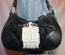 JUICY COUTURE Black Small Shoulder Hobo Tote Satchel Slouch Purse Bag