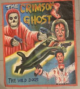 the crimson ghost ghana movie poster oil on floursack