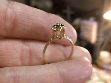 "GORGEOUS LADIES 10K YELLOW GOLD ""TULIP"" RING WITH DIAMOND & SAPPHIRE ""HALO"" -VGC"