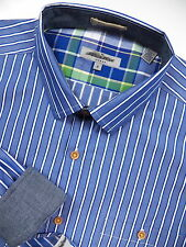 TED BAKER LONDON NWOT MENS 5 XL DRESS SPORT SHIRT STYLISH BLUE WHITE STRIPE LUXE