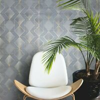Modern Wallpaper blue gold metallic textured geometric diamond triangle lines 3D