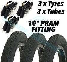 "3 x Pram Tyres & 3 x Tubes 10x2"" Size Mothercare MY3 Mountain Buggy Duet 10"""