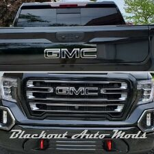 2019 2020 GMC Sierra 1500 Gloss Black Emblem Blackout Overlay Decals - Set of 2