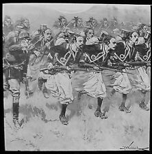 Glass Magic Lantern Slide CHARGE OF ZOUAVES C1900 DRAWING FRENCH SOLDIERS