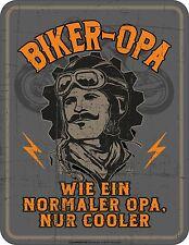 Blechschild geprägt Biker - Opa  Vater Fahrrad   Gr. 9 x 7 cm  Neu  3806