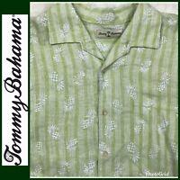 Tommy Bahama Shirt Sz XL Men's Button Down Hawaiian Linen Long Sleeve Pineapples