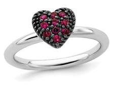 2/5 quilates (quilates rubí creado laboratorio) Corazón Promesa Anillo en Plata Esterlina