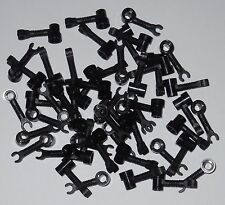 50 NEW LEGO BLACK BAR 1 X 3 WITH CLIP AND STUD RECEPTACLE, ROBOT ARMS