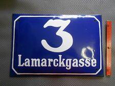 Lamarckgasse 3 alte, große Hausnummer Emaille Wien