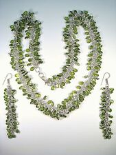 Dangling Earrings - 925 Sterling Silver Ladies Matching Faux Peridot Necklace &