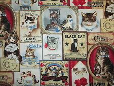 ANTIQUE CATS ADVERTISEMENTS CAT RETRO BLOCKS COTTON FABRIC BTHY
