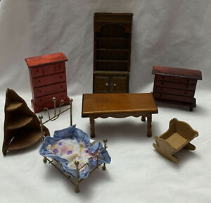 Dollhouse Miniature Vintage Wood Furniture Mixed Lot