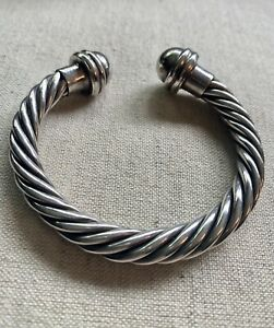 """Mexican Sterling Silver Braided Cable 7"""" Cuff Bracelet adjustable"""