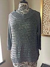 Seven For All Mankind Hi Low Black and Silver Knit Sweater Sz M
