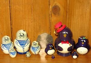 Nesting Russian Dolls SLIGHT SECONDS tiny PENGUIN 5 Sailor Walrus MINIATURE