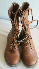 Wanted  Combat Boot with Fold-Over Knit Detail,7.5 M US color  Light Brown